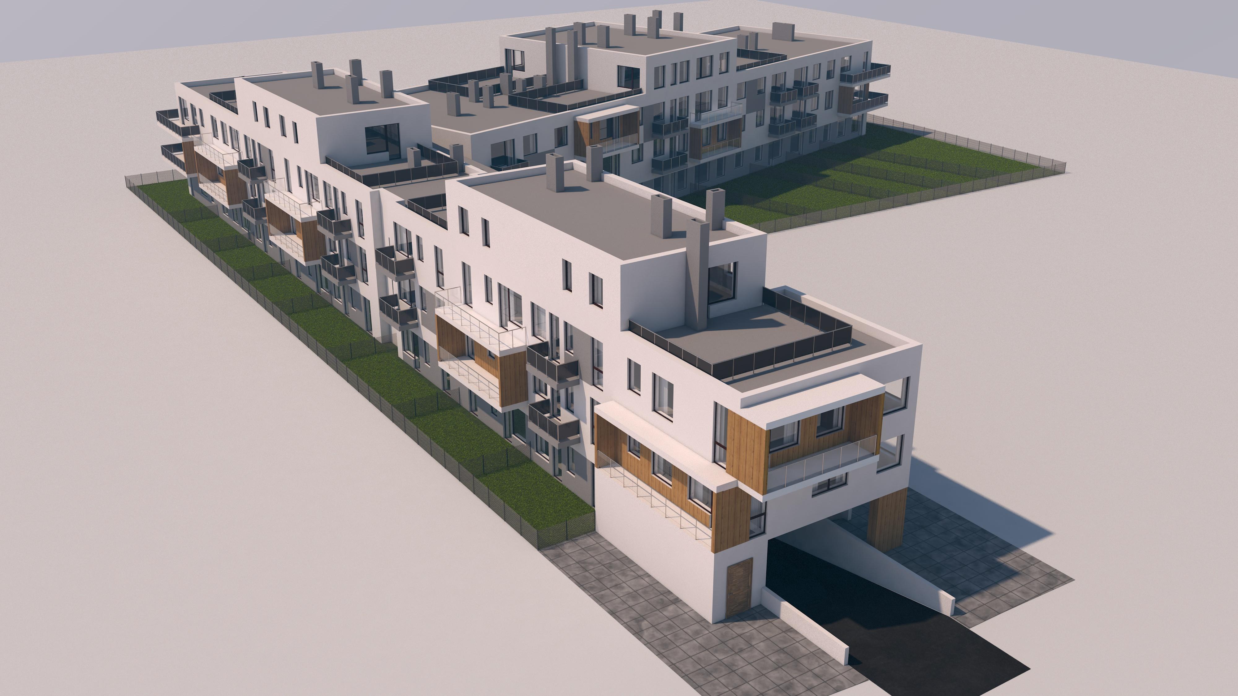 Wizualizacja urbanistyczna obiektu mieszkalnego wielorodzinnego