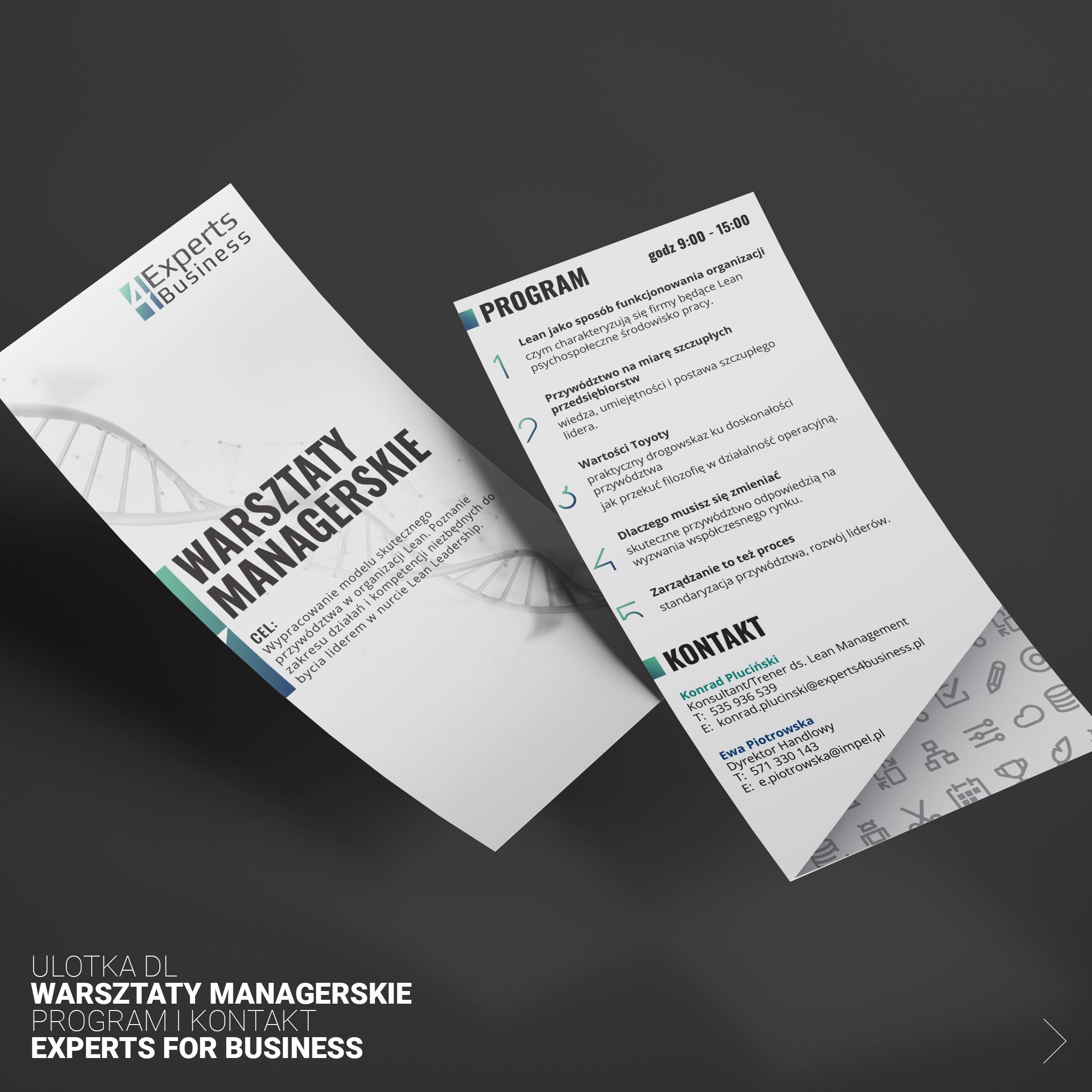 Projekt ulotki Warsztatów Managerskich