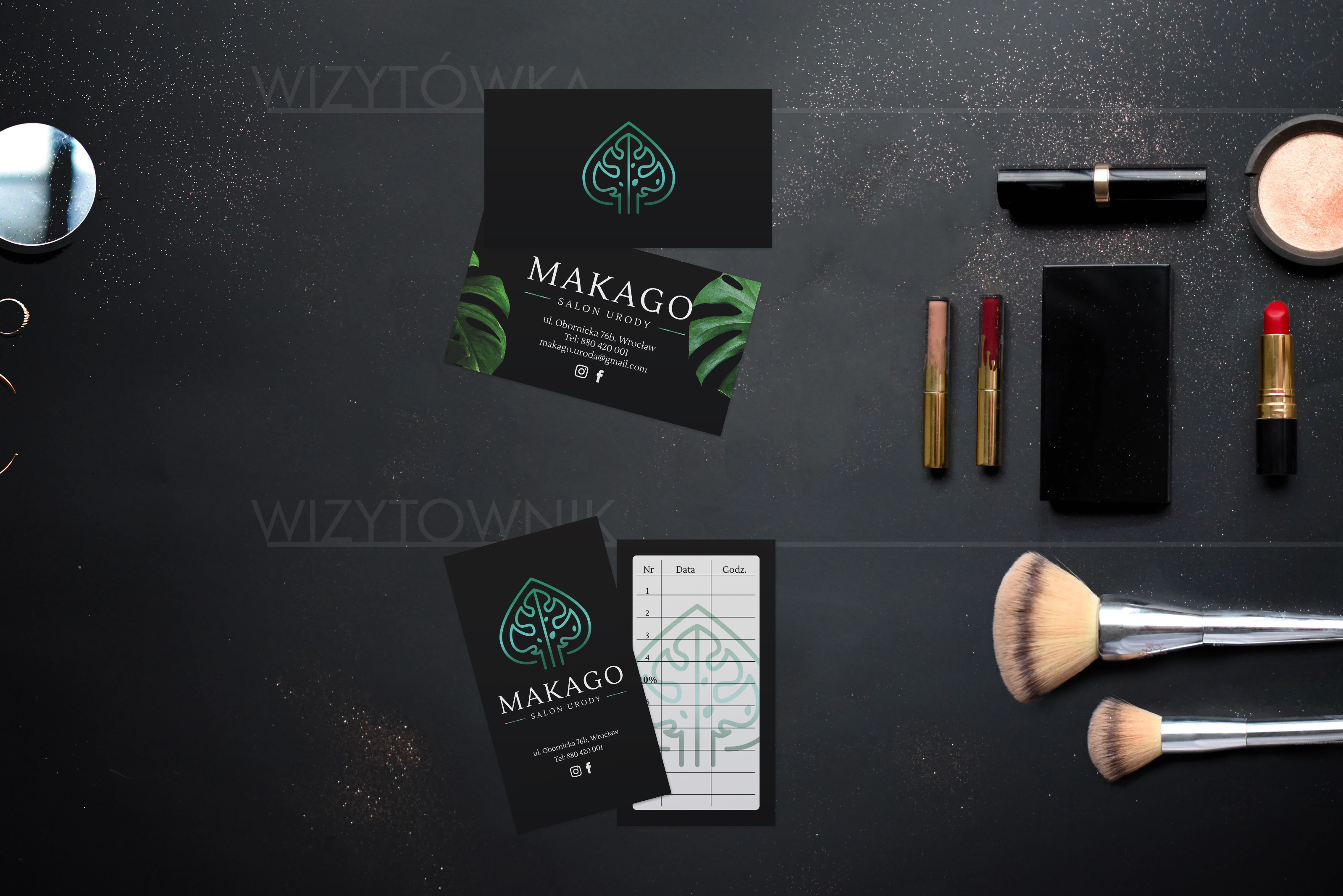 Projekt wizytówki i wizytownika Makago